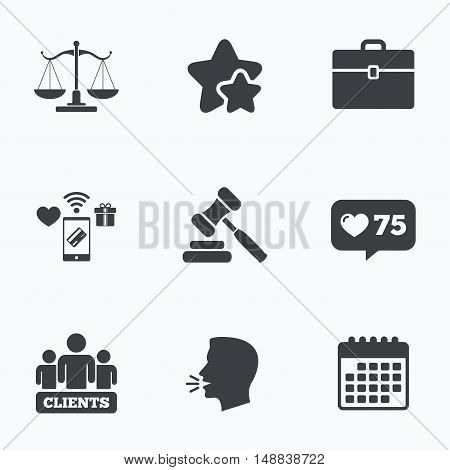 Scales of Justice icon. Group of clients symbol. Auction hammer sign. Law judge gavel. Court of law. Flat talking head, calendar icons. Stars, like counter icons. Vector