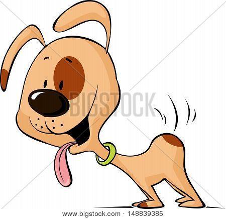 enthusiastic dog waiting for food cartoon - vector illustration