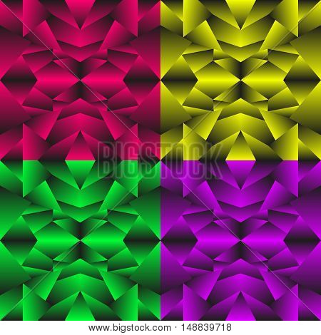 A set of colored geometric textures. Abstract pattern in green purple yellow and red colors.