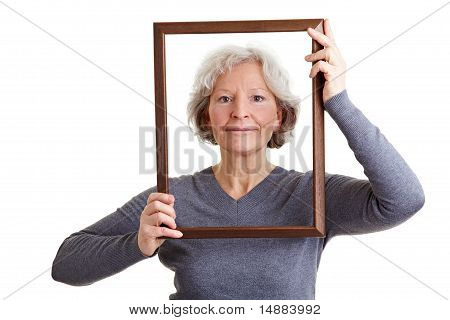 Senior Woman With Empty Frame