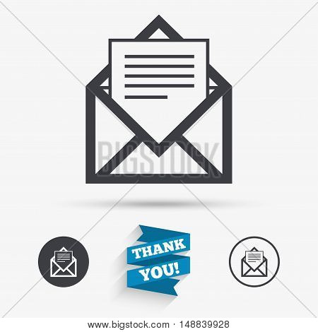 Mail icon. Envelope symbol. Message sign. Mail navigation button. Flat icons. Buttons with icons. Thank you ribbon. Vector