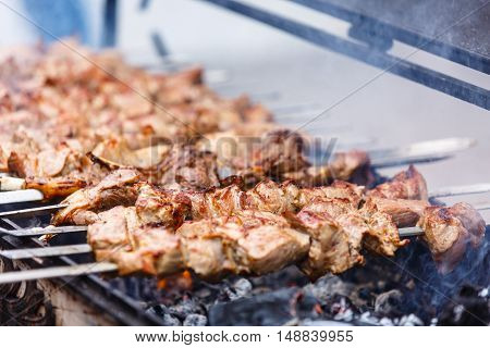Shish Kebab On Skewers (beef, Pork, Chicken) Are Roasted Over Th
