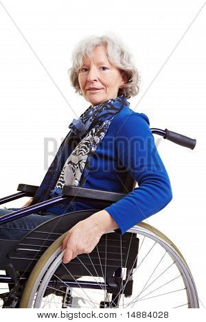 Handicapped Old Woman In Wheelchair