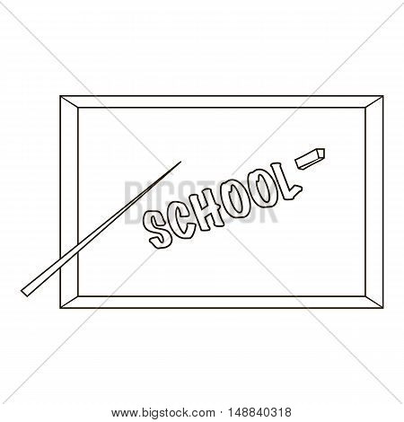 Board with a pointer and chalk icon in outline style isolated on white background. Write and draw symbol vector illustration