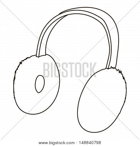Headphones icon in outline style isolated on white background. Music symbol vector illustration