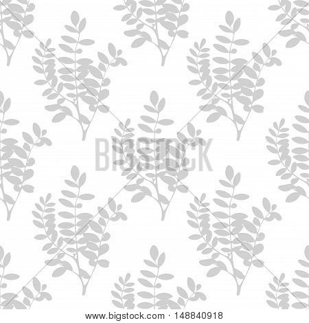 Realistic gray on white branches, floral background. Tree leaves and branches seamless pattern. Vector illustration.