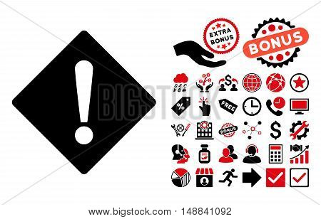 Error icon with bonus pictogram. Vector illustration style is flat iconic bicolor symbols, intensive red and black colors, white background.
