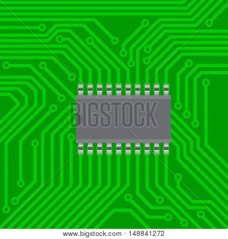 Abstract image electronic circuit board with green mask with electronic chip in the center. Vector illustration.
