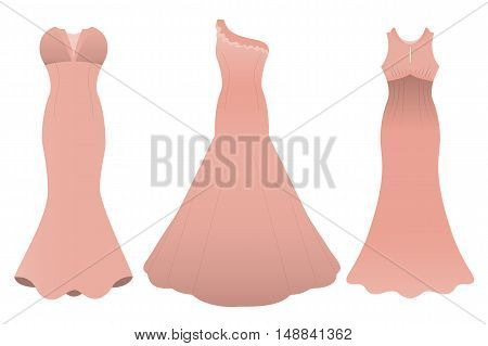 Set of three evening cocktail dresses color of tea rose. Vector illustration