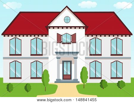 Classic cottage with a red roof porch columns shutters lawn on a background of blue sky. Vector illustration in a flat style
