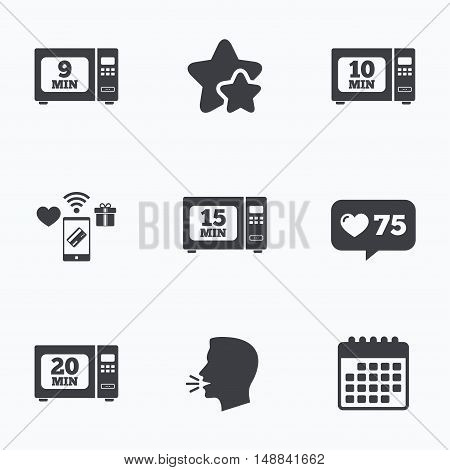 Microwave oven icons. Cook in electric stove symbols. Heat 9, 10, 15 and 20 minutes signs. Flat talking head, calendar icons. Stars, like counter icons. Vector