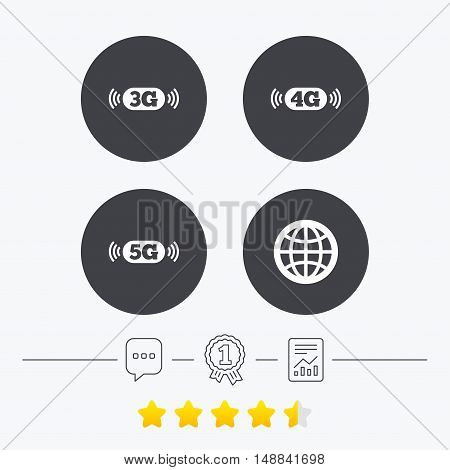 Mobile telecommunications icons. 3G, 4G and 5G technology symbols. World globe sign. Chat, award medal and report linear icons. Star vote ranking. Vector