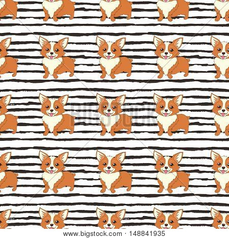 Cute welsh corgi dog vector seamless pattern