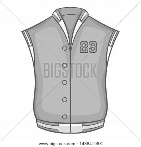 Sports vest icon in black monochrome style isolated on white background. Clothing symbol vector illustration