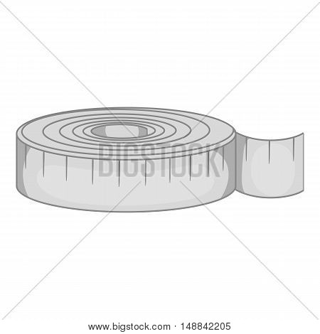 Measuring tape icon in black monochrome style isolated on white background. Tool symbol vector illustration