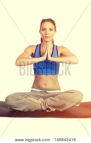 Beautiful isolated healthy yoga girl