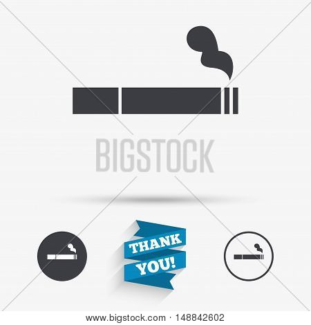 Smoking sign icon. Cigarette symbol. Flat icons. Buttons with icons. Thank you ribbon. Vector