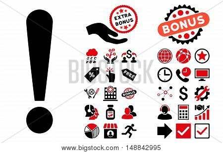 Exclamation Sign icon with bonus images. Vector illustration style is flat iconic bicolor symbols, intensive red and black colors, white background.