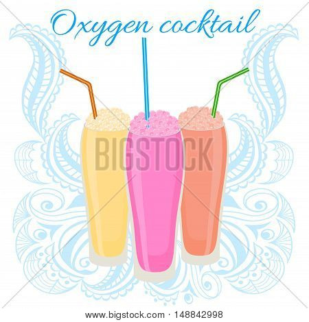 Oxygen cocktail icon with straw.Vector illustration for healthy lifestyle