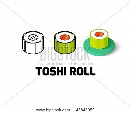 Toshi roll icon, vector symbol in flat, outline and isometric style