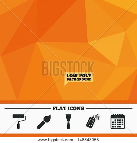 Triangular low poly orange background. Paint roller, brush icons. Spray can and Spatula signs. Wall repair tool and painting symbol. Calendar flat icon. Vector