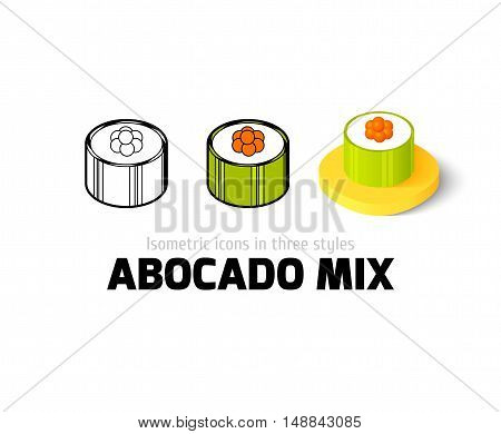 Abocado mix icon, vector symbol in flat, outline and isometric style