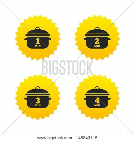 Cooking pan icons. Boil 1, 2, 3 and 4 minutes signs. Stew food symbol. Yellow stars labels with flat icons. Vector