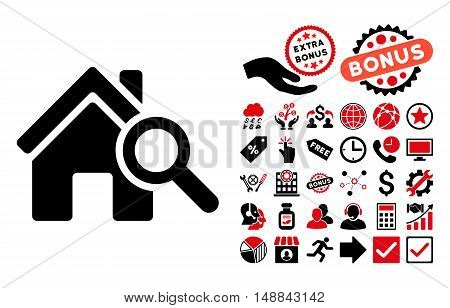 Explore House pictograph with bonus pictures. Vector illustration style is flat iconic bicolor symbols, intensive red and black colors, white background.