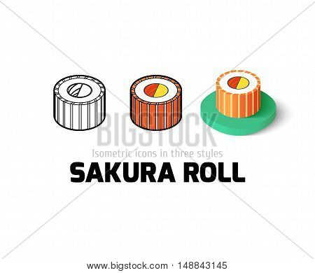 Sakura roll icon, vector symbol in flat, outline and isometric style