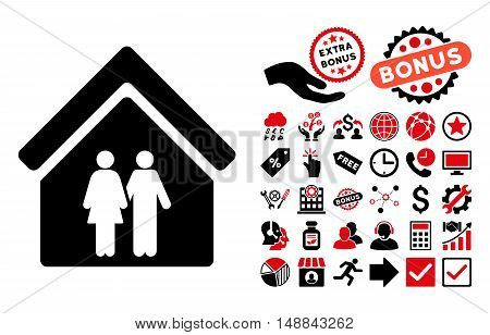 Family House pictograph with bonus pictures. Vector illustration style is flat iconic bicolor symbols, intensive red and black colors, white background.