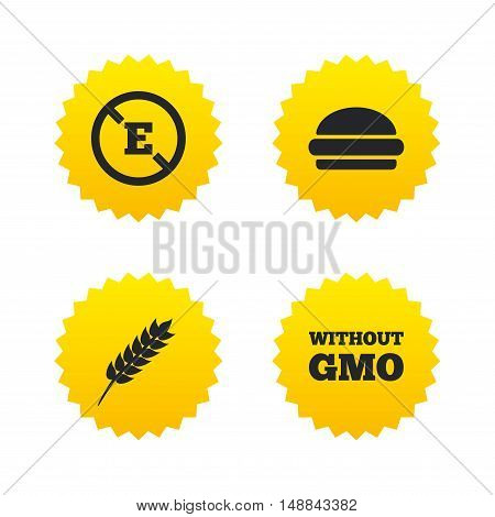 Food additive icon. Hamburger fast food sign. Gluten free and No GMO symbols. Without E acid stabilizers. Yellow stars labels with flat icons. Vector