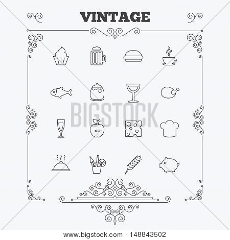 Food and Drinks icons. Beer, coffee and cocktail symbols. Fish and pork meat, hamburger and cheese thin outline signs. Chief hat. Vintage ornament patterns. Decoration design elements. Vector