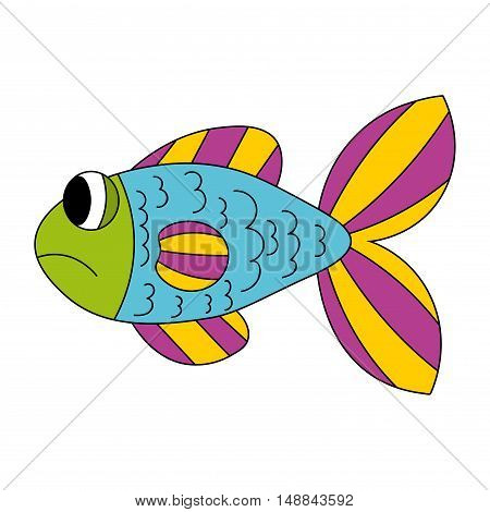 Cartoon sad fish in blue yellow purple green color isolated on white. Vector illustration.