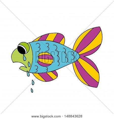 Crying cartoon fish. Dropping the tears from fish's eyes. Sad hand drawn blue and violet, yellow, green fish isolated on white background. Vector illustration.