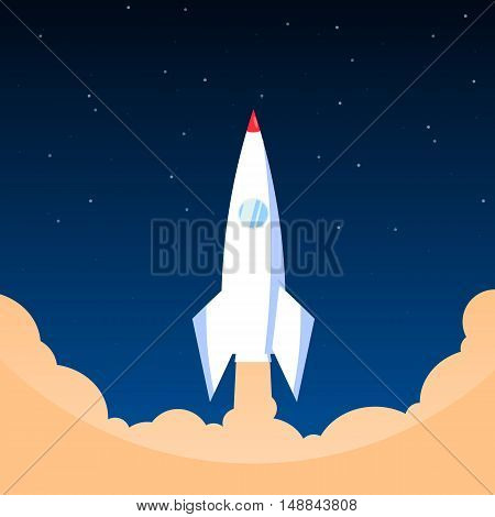White Rocket In Flat Style, Vector Illustration ,space Travel To Space,
