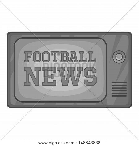 Football news on retro TV icon in black monochrome style isolated on white background. Sport symbol vector illustration
