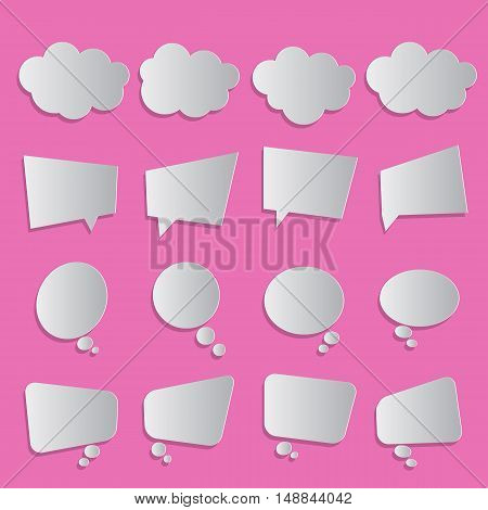 Blank empty white simple flat speech dialog communication bubbles paper collection set isolated pink background with shadow. Vector illustration. Infographic abstract design.