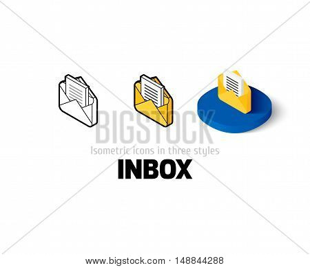 Inbox icon, vector symbol in flat, outline and isometric style