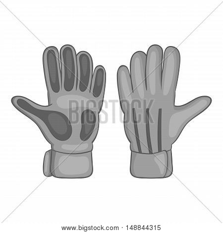 Football goalkeeper gloves icon in black monochrome style isolated on white background. Sport symbol vector illustration
