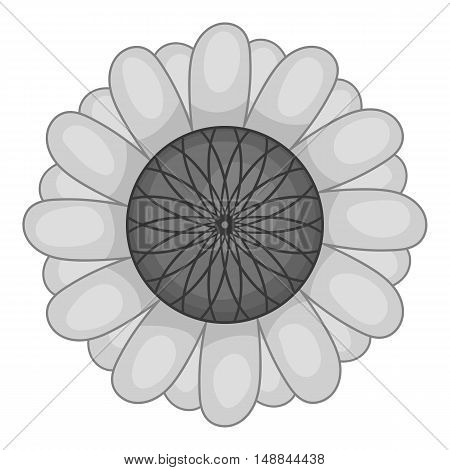 Flower icon in black monochrome style isolated on white background. Flora symbol vector illustration