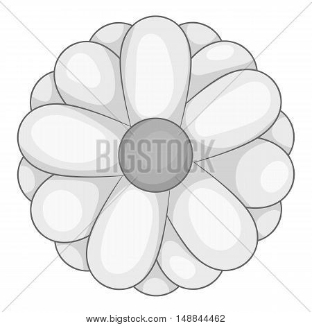 Daisy icon in black monochrome style isolated on white background. Flora symbol vector illustration