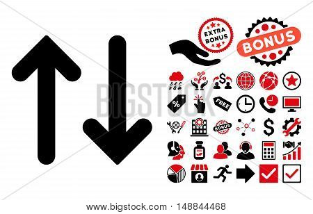 Flip Vertical pictograph with bonus icon set. Vector illustration style is flat iconic bicolor symbols intensive red and black colors white background.