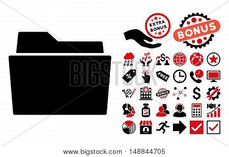 Folder icon with bonus pictogram. Vector illustration style is flat iconic bicolor symbols intensive red and black colors white background.