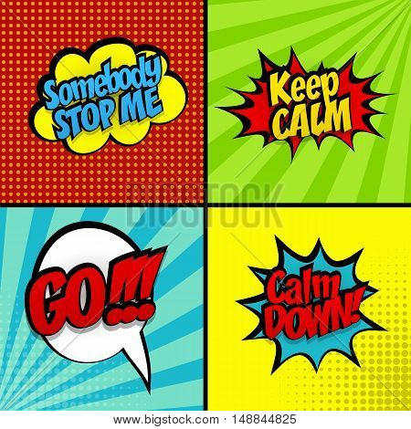 Set comic sound effects pop art style vector phrase stop, go, keep calm. Sound bubble speech word and comic cartoon expression sounds illustration. Pop art lettering. Comics book background template.
