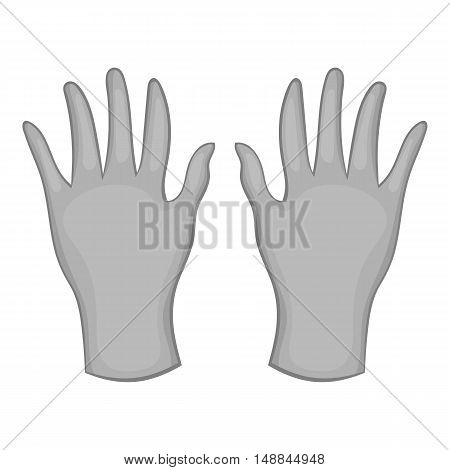 Rubber gloves icon in black monochrome style isolated on white background. Hand protection symbol vector illustration