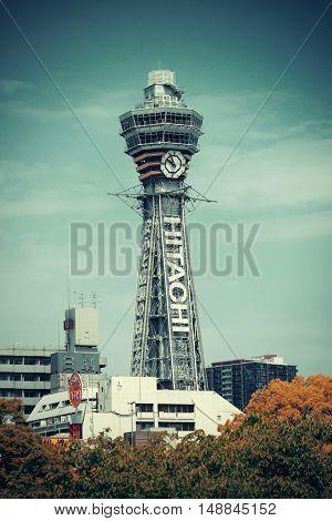 OSAKA, JAPAN - MAY 11: Tsutenkaku clouseup as famous landmark on May 11, 2013 in Osaka. With nearly 19 million inhabitants, Osaka is the second largest metropolitan area in Japan after Tokyo.