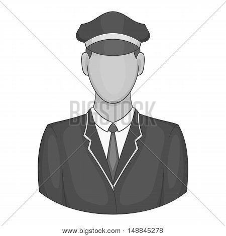 Driver of train icon in black monochrome style isolated on white background. Job symbol vector illustration
