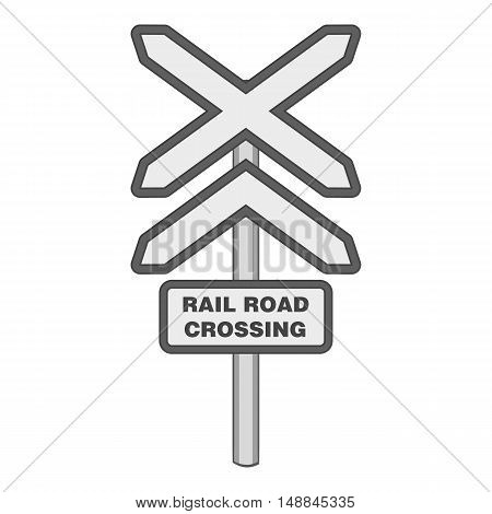 Sign rail road crossing icon in black monochrome style isolated on white background. Fence symbol vector illustration