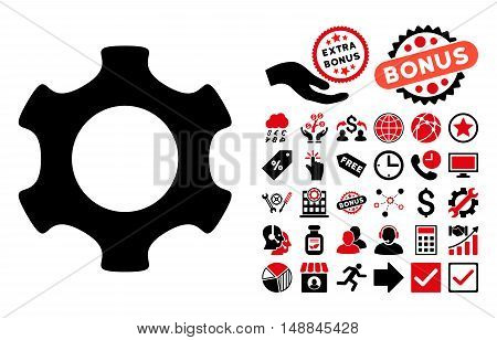 Gear icon with bonus pictures. Vector illustration style is flat iconic bicolor symbols intensive red and black colors white background.