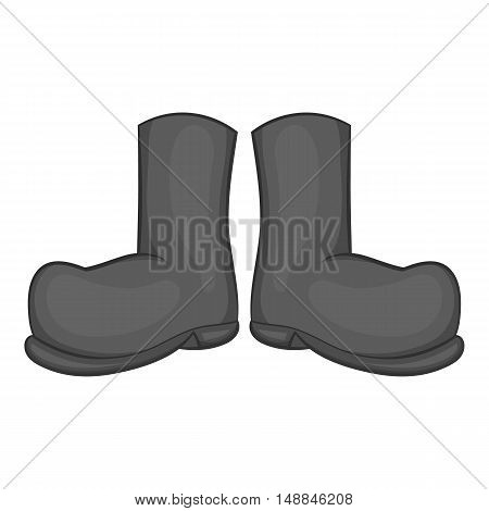 Hunting rubber boots icon in black monochrome style isolated on white background. Shoes symbol vector illustration